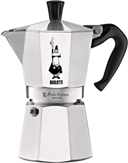 The Original Bialetti Moka Express - 6 Cup Stovetop Coffee Maker with Safety Valve – brews 9.2 ounces (Renewed)