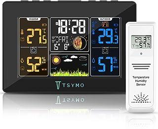 TSYMO Station Météo Interieur Exterieur, Station Meteo sans Fil Thermomètre Hygromètre Intérieure Extérieure Prévision Mét...