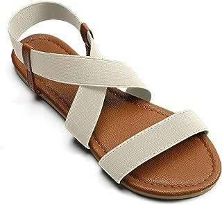 Soles & Souls Women Flat Sandals Criss-Cross Open Toe Elastic Strap Summer Shoes