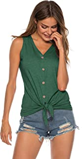 Women's Tie Knot Button Down Shirts Sleeveless Casual Blouse Curved Hemline Tops S-XXL