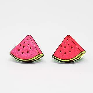 Cute Watermelon Stud Earrings | Tiny Fruit Handmade Post Earrings