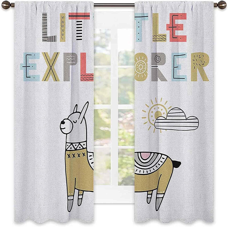 Kids Heat Insulation Overseas parallel import regular item Curtain Max 85% OFF Hand Drawn Llama Sunny on Colorful