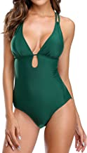 beautyin Womens Lace Up Back One Piece Bathing Suit Deep Plunge Padded Swimsuit