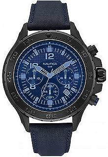 Nautica Men's Quartz Watch With Black Dial Analogue Display Quartz Fabric Nai21008G, Black Band