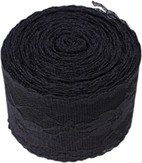 ATRibbons 25 Yards 2-1/2 Inches Wide Floral Pattern Lace Trim Roll White/Black Lace Fabric Ribbon for Sewing Making,Gift Wrapping and Bridal Wedding Decorations (Black)