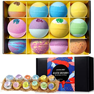 Lagunamoon Bath Bombs,12 Pcs Handmade Double-Layer Color Bath Bombs Gift Set, Rich Bubble,Perfect Gifts for Kids, Women,Mom