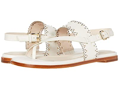Cole Haan Anica Scallop Thong Sandal (Ivory Leather/Gold Studs) Women