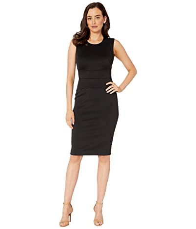Calvin Klein Solid Sheath Dress with Waist Detail (Black) Women