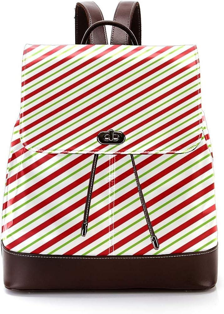 Stripes PU Leather Backpack Fashion Shoulder Bag Rucksack Travel Bag for Women Girls