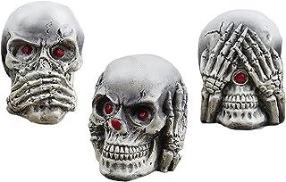 Bhuuno Halloween Decoration Skull Figurines, See Hear Speak No Evil Halloween Skull Statue for Indoor Haunted House Hallow...