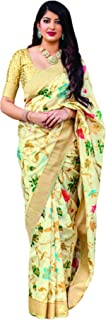 Golden Designer Indian Women Traditional Soft Silk Ethnic Style Festive Wear Sari With Blouse Piece Eid Special 5844