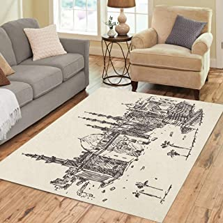 Semtomn Area Rug 3' X 5' Egypt Cairo Big City Architecture Vintage Engraved Sketch Hand Home Decor Collection Floor Rugs Carpet for Living Room Bedroom Dining Room