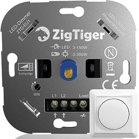 LED Dimmer Drehdimmer Schalter 4-300W Wand für dimmbare LED Lampe Unterputz
