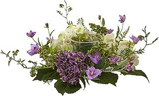 Nearly Natural 7in. Mini Hydrangea Berry Candelabrum Silk Arrangements Purple