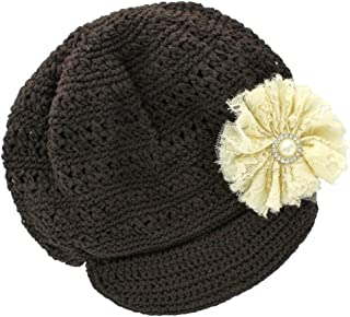 Infant Baby Girl's Newsboy Crochet Beanie Hat with Vintage Lace/Tulle Flower