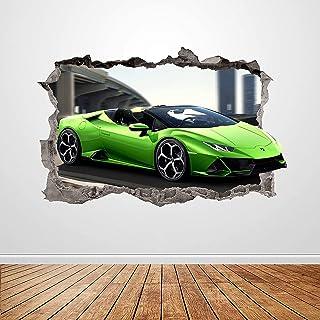 DT affiche, sticker mural de course crack 3D sticker mural art affiche murale enfants chambre décoration 90 cm x 60 cm