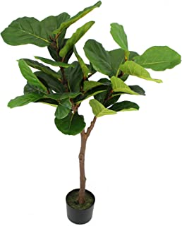 UNIQUE FOREST ARTS Artificial Tree,Artificial Plant, Artificial Fiddle Leaf Fig Tree,4-feet,Green (Size:48