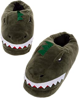 Silver Lilly LED Light Up Dinosaur Slippers - Novelty T-Rex Animal House Shoes w/Comfort Foam