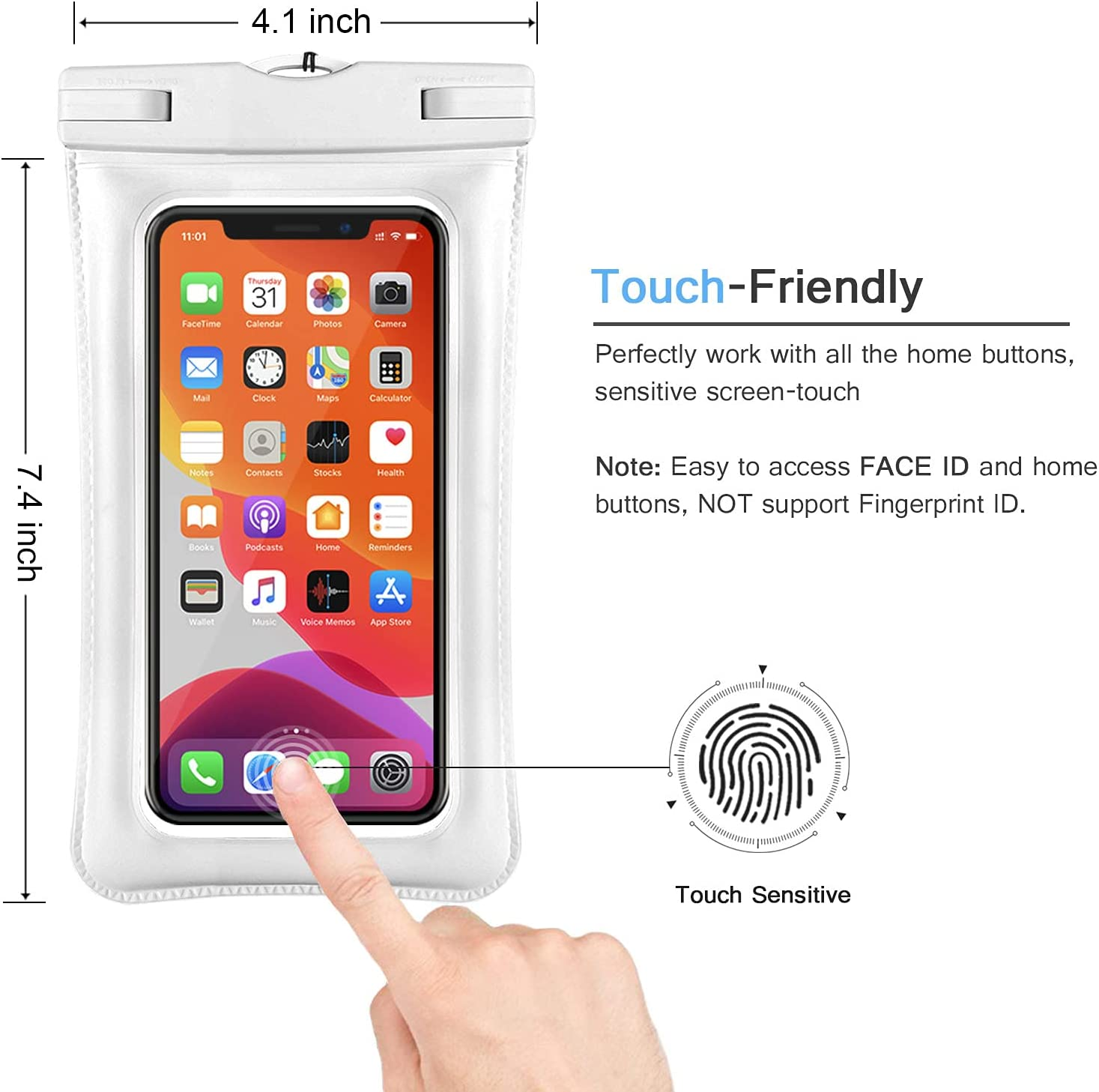 Universal Waterproof Case, IFCASE TPU Phone Dry Bag Pouch for iPhone 12 Pro Max, 11 XS XR X 6 7 SE, Samsung Galaxy S21 S20 S10 S9 Plus, S21 Ultra 5G, A72 A52, LG Stylo 6 5 (White) 2 Pack