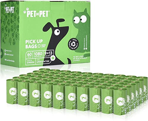 PET N PET Earth-Friendly Poop Bags Large Unscented Dog Waste Bags Doggie Bags Green 1080 Counts 60 Rolls