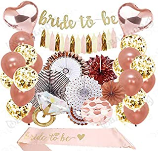 Rose Gold Bridal Shower Decorations 39PCS Bachelorette Gifts Bride to Be Banner,Sash,Tassel,12inch Rose Gold Confetti Balloons Bachelorette Party Supplies (Rose Gold, Gold)