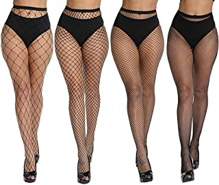 DRESHOW 4 Pairs High Waist Tights Fishnet Stockings Thigh High Stockings Pantyhose for Women