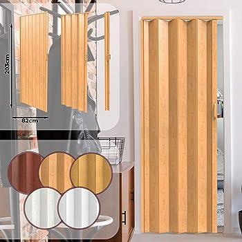 Puerta Plegable de PVC - Ancho 82cm / Alto 203cm, Efecto Madera con Color a Elegir, Ideal para Estancias en las que Deseemos Ahorrar Espacio - Puerta Corredera de Plástico para Interior: