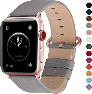Fullmosa Compatible Watch Strap 44mm 42mm 40mm 38mm, 15 Colors Genuine Leather watch Strap/Band for Watch Series 4,Series 3, Series 2, Series1 Nike+ Hermes&Edition, 44mm 42mm Grey + Rose Gold Buckle