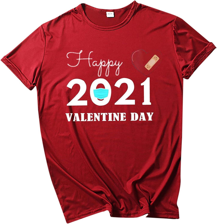 Shirts for Women Yuaekjes Women's 2021 Happy Heart Print T-Shirt O Neck Short Sleeve Loose Casual Tee Top Blouse Tunic