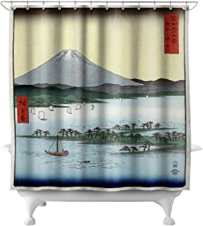 Lantern Press Pine Beach at Miho in Suruga with View of Mount Fuji - Japanese Wood-Cut Art 21681 (74x74 Polyester Shower Curtain)