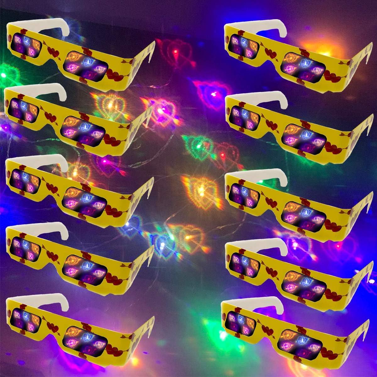 Dedication DeHasion 50 Packs Novelty Heart Glasses 3D G Diffraction Large special price !!