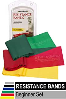 TheraBand Resistance Bands Set, Professional Non-Latex Elastic Band, Yellow/Red/Green - Beginner Set 1