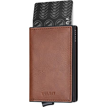 VULKIT Credit Card Holder RFID Blocking Mens Leather Card Wallet Pop Up Secure Bank Card Holder with 2 Slots for Cards and Banknote, Saddlebrown