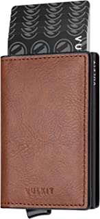 VULKIT Credit Card Holder RFID Blocking Mens Leather Card Wallet Pop Up Secure Bank Card Holder with 2 Slots for Cards and...