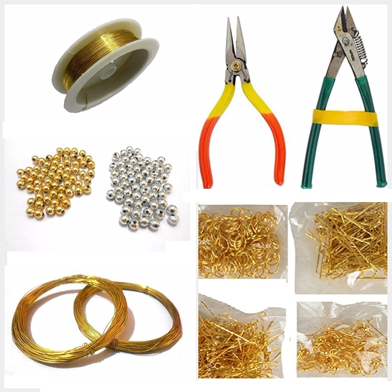 GOELX Jewellery Making Basic Accessories Finding Tool Kit With Multiple Items- Wire, Tools, Beads