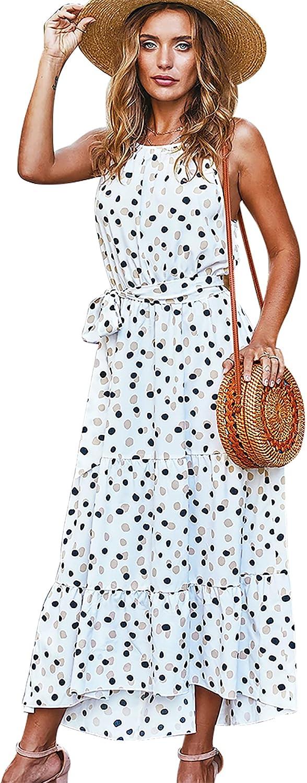 Women's Summer Casual Maxi Dress Halter Neck Sleeveless Polka Dot Beach Sundress with Belt