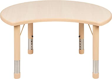 """Flash Furniture 25.125""""W x 35.5""""L Crescent Natural Plastic Height Adjustable Activity Table"""