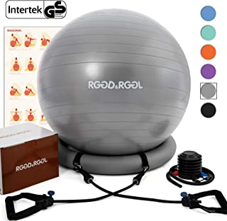 RGGD&RGGL Yoga Ball Chair, Exercise Ball with Leak-Proof Design, Stability Ring&2 Adjustable Resistance Bands for Any Fitness Level, 1.5 Times Thicker Swiss Ball for Home&Gym&Office&Pregnancy (65 cm)