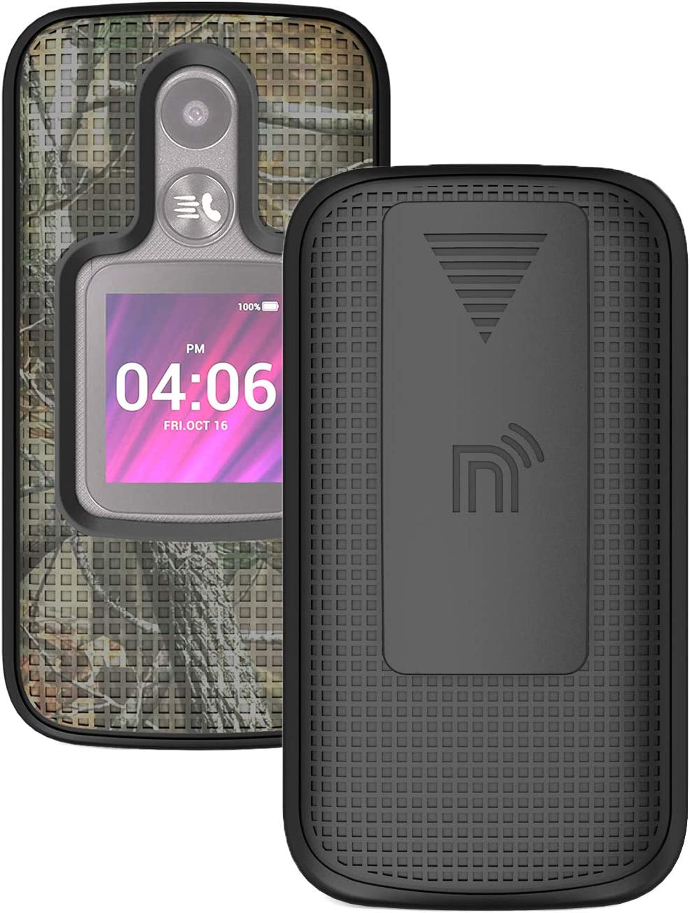 Case with Clip for MyFlip-2 Phone, Nakedcellphone [Outdoor Camouflage] Tree Leaf Real Woods Camo Cover with Belt Hip Holster Holder for Alcatel MyFlip 2 Phone (A406DL), TCL My Flip 2
