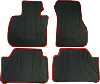 biosp Car Floor Mats for BMW X1 F48 2016 2017 2018 2019 Front And Rear Heavy Duty Rubber Liner Set Black Red Vehicle Carpet Custom Fit-All Weather Guard Odorless
