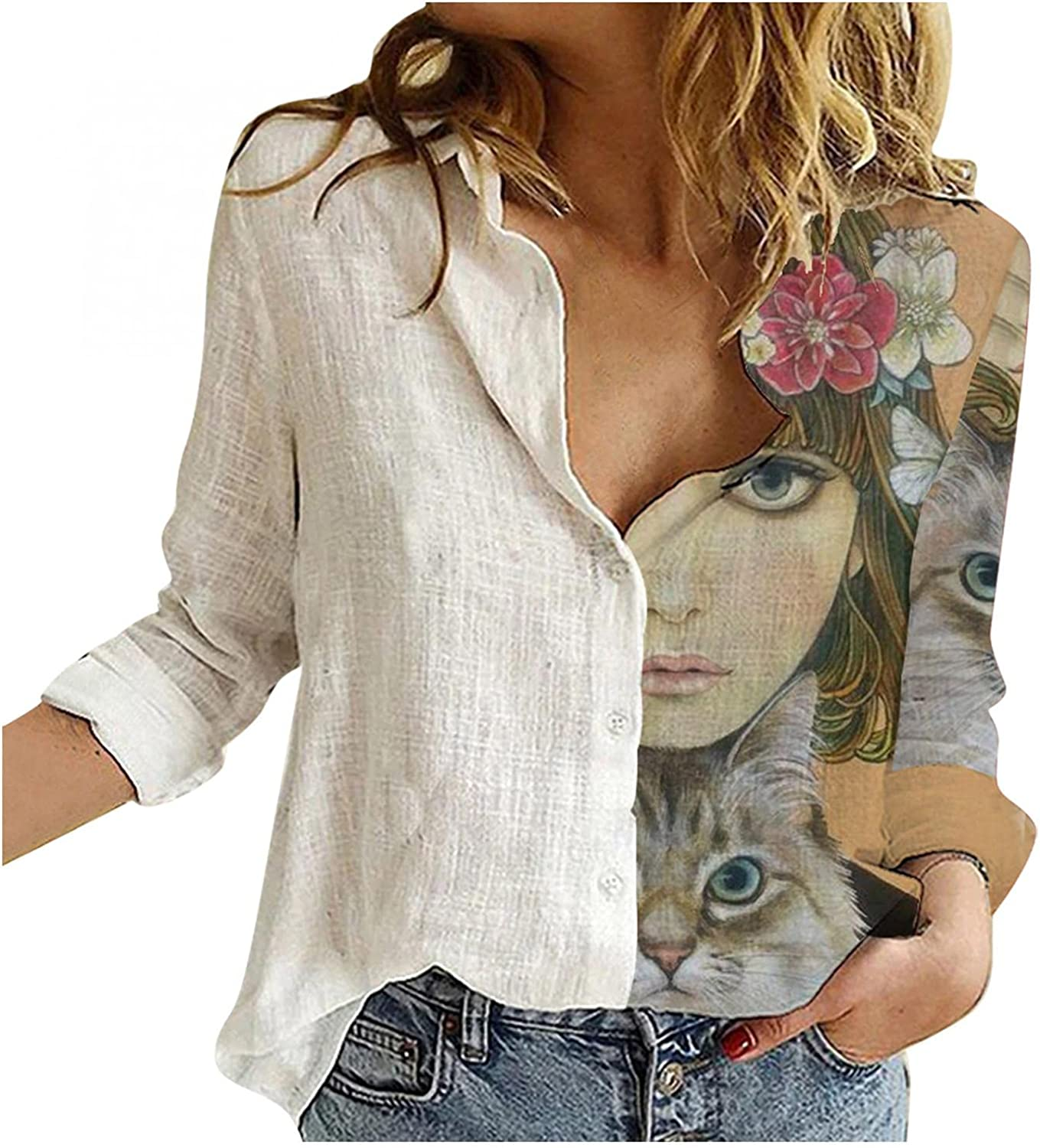 Aiouios Lightweight Sweatshirts for Women Graphic Button down Long Sleeve Shirt Floral Print Casual Loose Blouses Tops