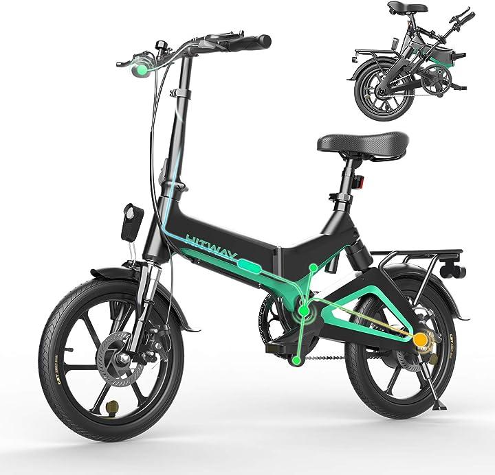 Bici elettrica leggera da 250 w pieghevole elettrica con pedalata assistita con batteria da 7,5 ah, 16 pollici B08L3SSRKF