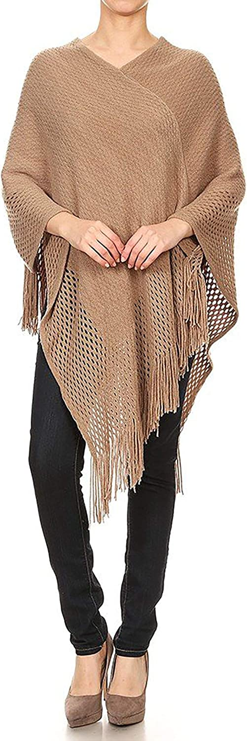 Women's Solid Print Casual Comfy Loose Fit VNeck Asymmetrical Hem Pull Over Poncho