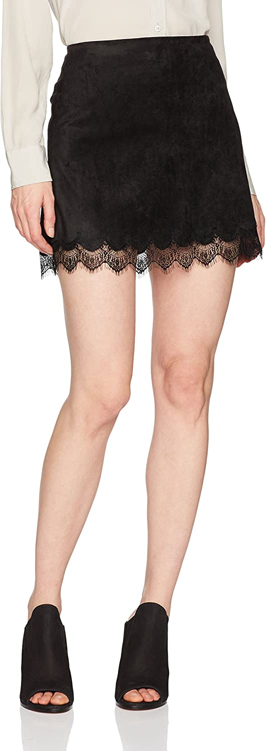 Cupcakes and cashmere Womens Crista Faux Suede Skirt with Lace Trim Skirt