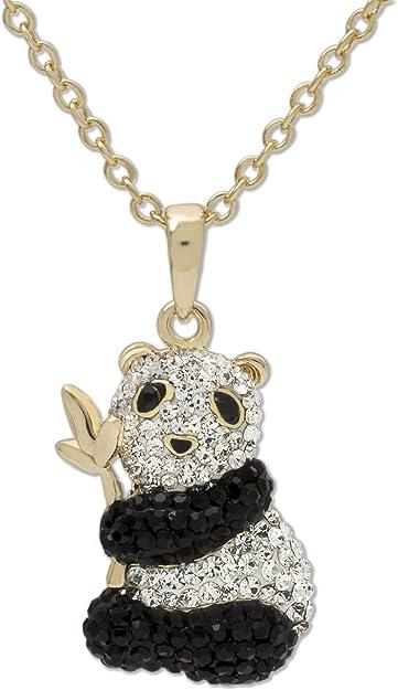 Bijoux Collier Necklace ours panda bear environ 36cm strass
