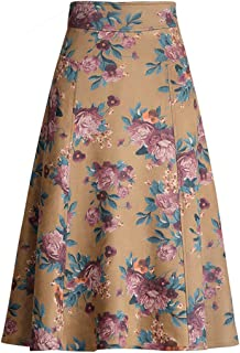 Women's High Waisted Faux Suede Floral Printed A-line Flared Long Swing Skirt with Back Zipper