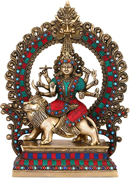 CraftVatika 15 Large Durga Statue Brass Sculpture Mythological Indian Hindu Goddess Durga Shrine Sculpture Durga Temple Offering Idol