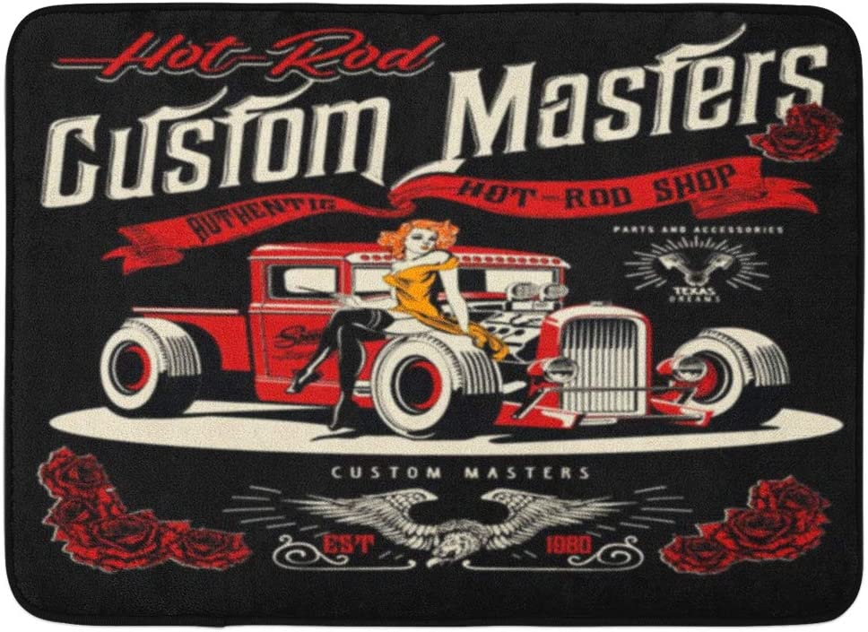 Aabagael Max 54% OFF Bath Mat Mesa Mall Classic Red Vintage Hot Up Rod Gi Pin and Cars