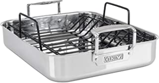 Viking Culinary 3-Ply Stainless Steel Roasting Pan, 16 Inch x 13 Inch, Silver