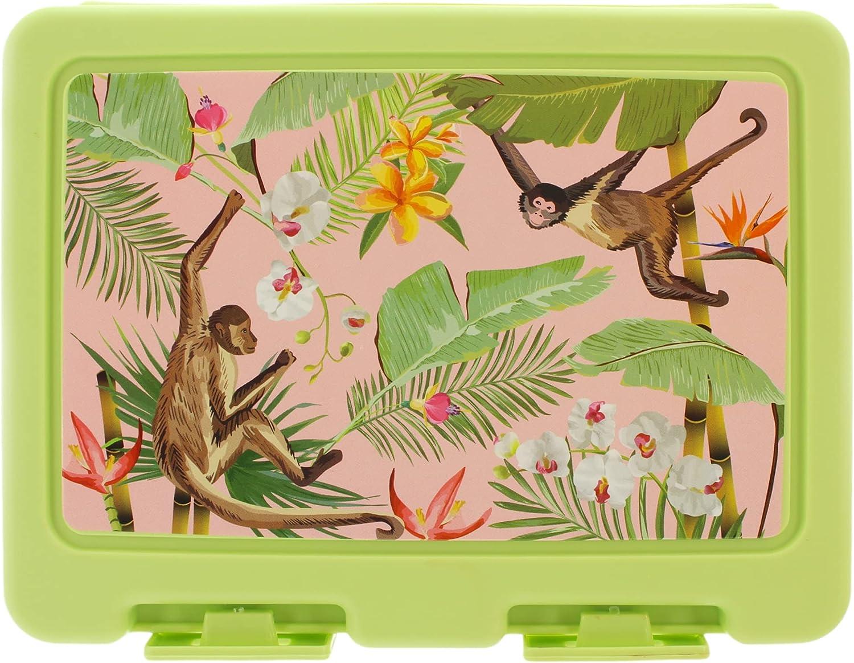 Fiambrera para niños con subdivisión, Bento Box con tenedor y cuchara en la tapa, 18 x 14 x 7 cm (motivo de la selva)